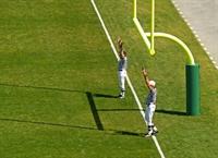 Referees on football field