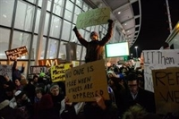 Protesting outside airport