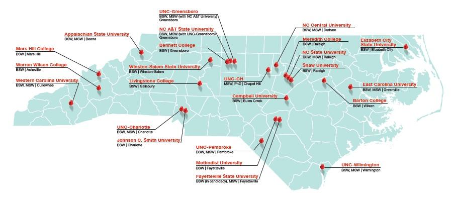 Social Work Programs In North Carolina National Association Of: Map Of North Carolina Colleges At Slyspyder.com