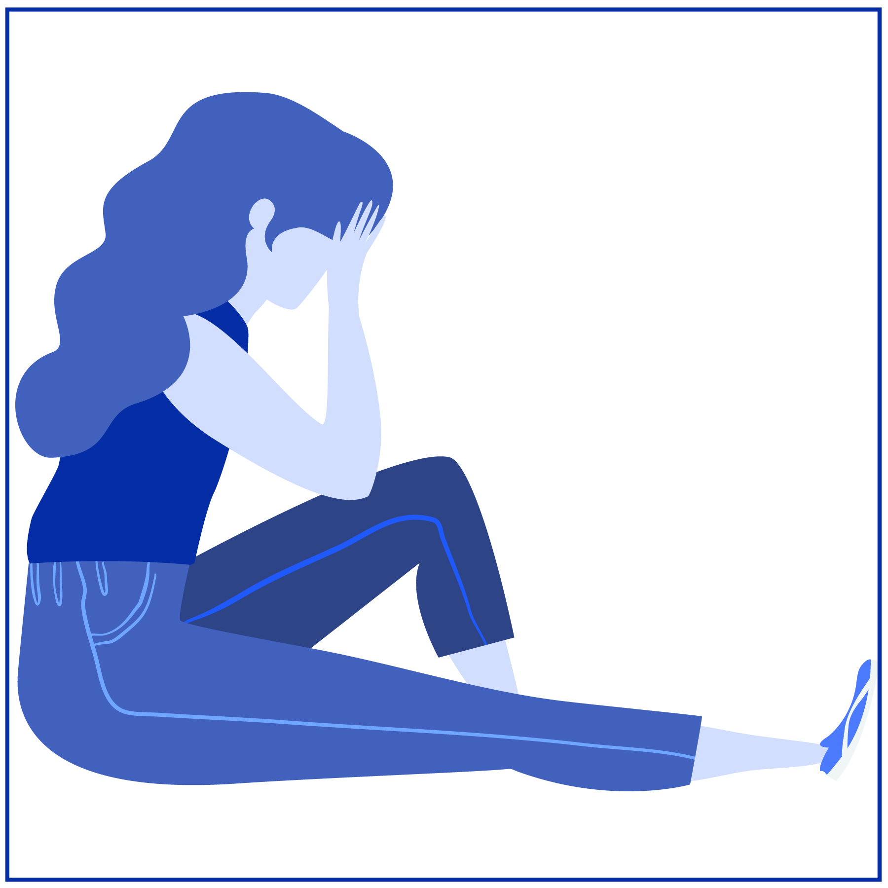 sad girl sitting in blue