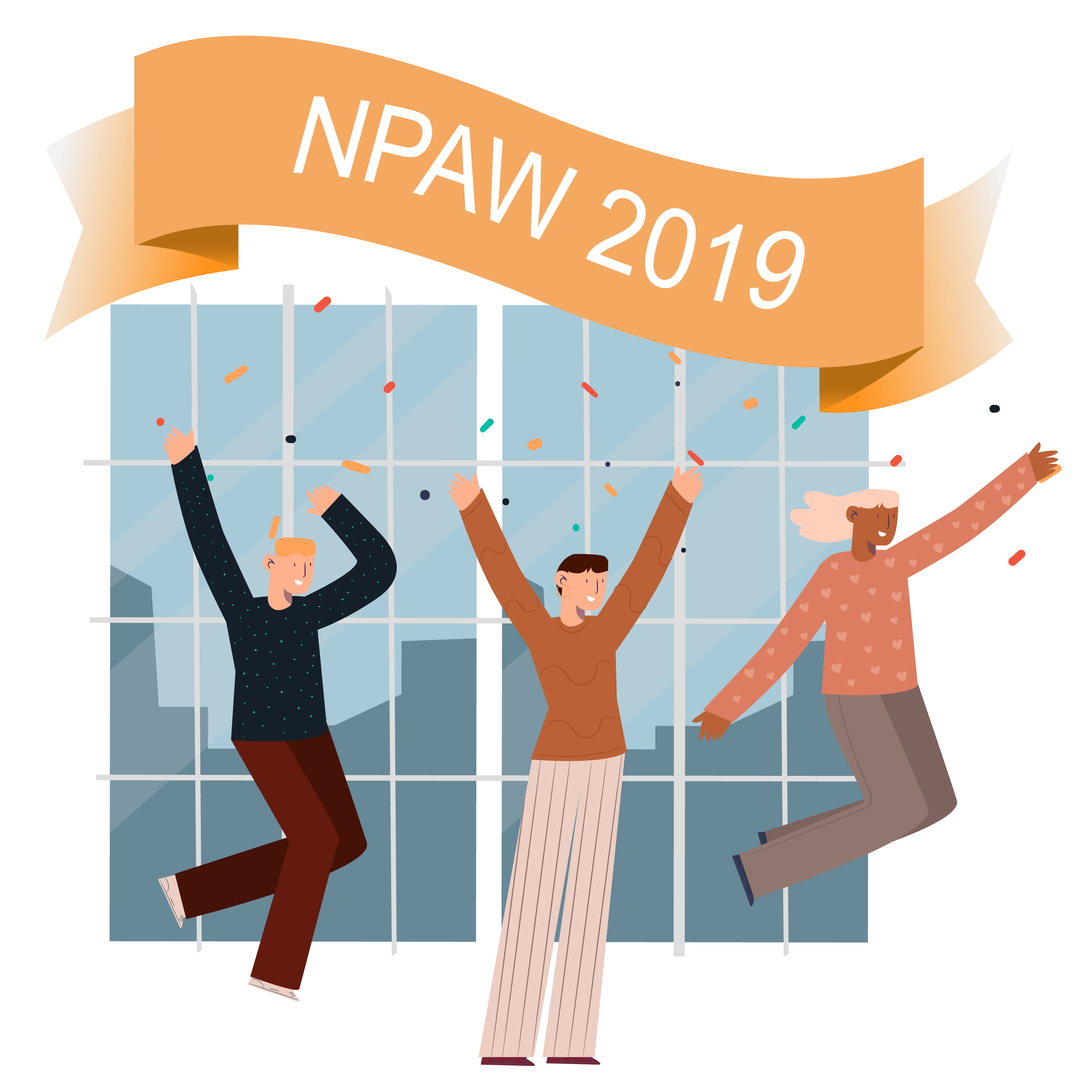 People celebrating with NPAW 2019 banner above