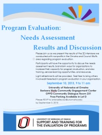 Program Evaluation: Needs Assessment Results & Discussion