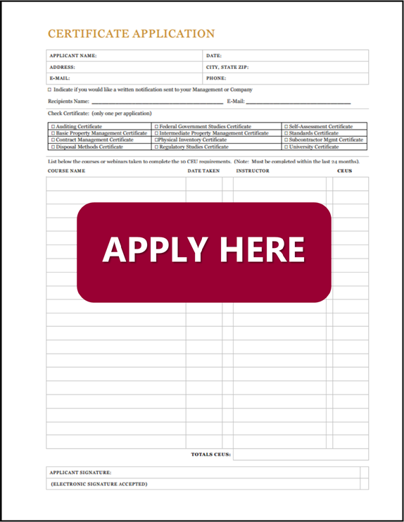Specialty Certificate Application - National Property Management ...