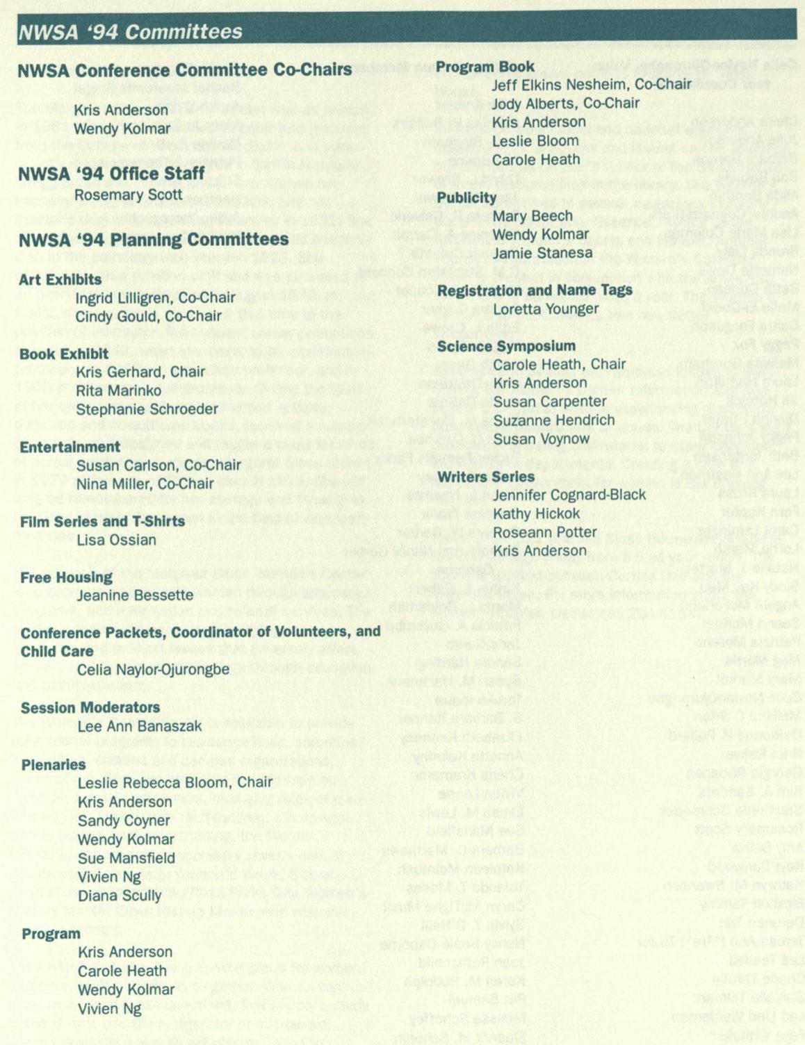 List of 1994 program committee members