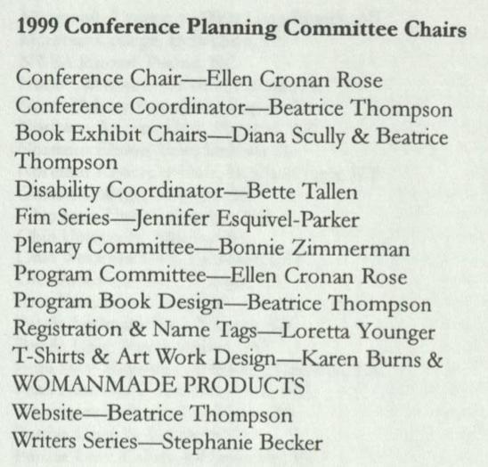 List of 1999 program committee members