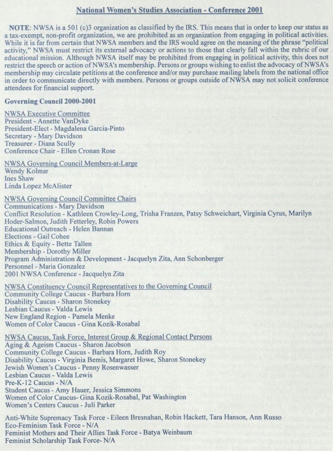 2001 Governance Members