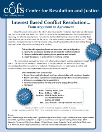 Interest-Based Conflict Resolution
