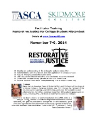 Facilitator Training: Restorative Justice for College Student Misconduct