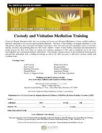 Custody and Visitation Mediation Training