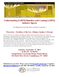 Understanding LGBTQ Identities and Creating LGBTQ Inclusive Spaces