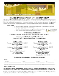 Basic Principles of Mediation