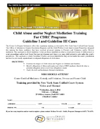 Child Abuse/Neglect Training for Mediators