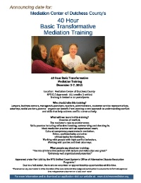 40-Hour Basic Transformative Mediation Training