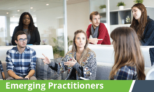 Emerging Practitioners – Young woman talking in group