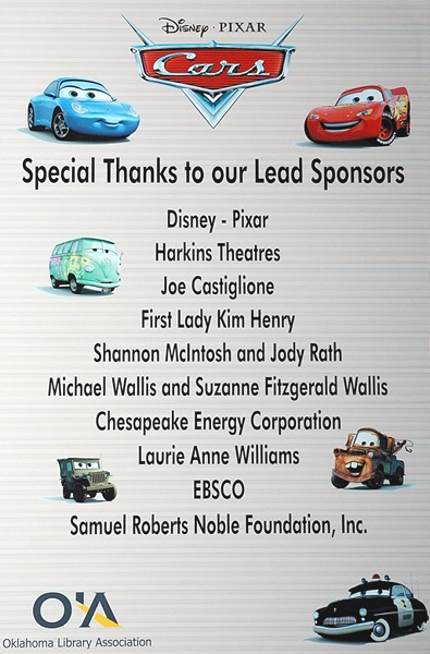 Cars poster with sponsor credits