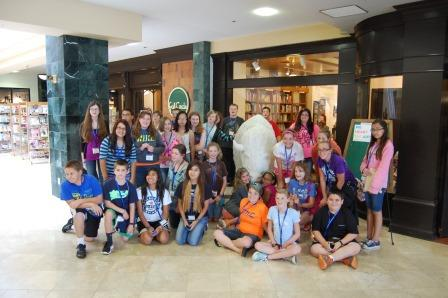 Group photo of the campers at Full Circle Bookstore in OKC