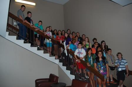 Group photo of the campers at the OU Library in Norman