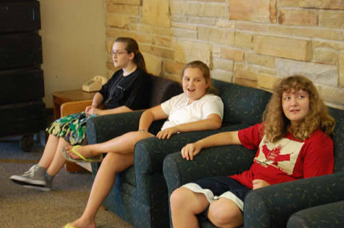 Campers relaxing in LaFortune House Commons