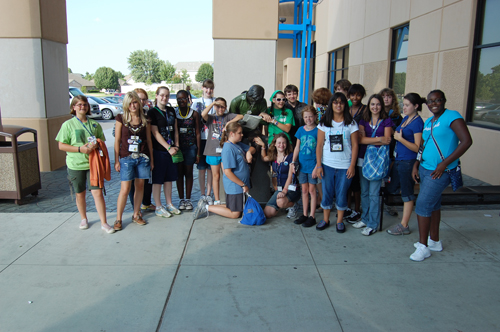 Group photo outside Hardesty Regional Library in Tulsa