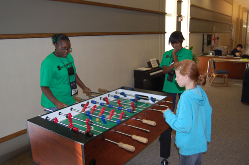 Playing foosball in LaFortune House