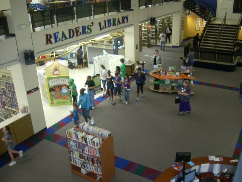 Looking down on the main floor at TCCL's Central Library