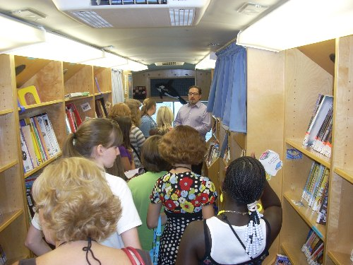 Brad Thomas shows off the TCCL Bookmobile