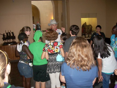 Meeting the docent at the Will Roger Memorial