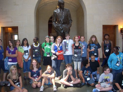 Group photo at the Will Rogers Memorial