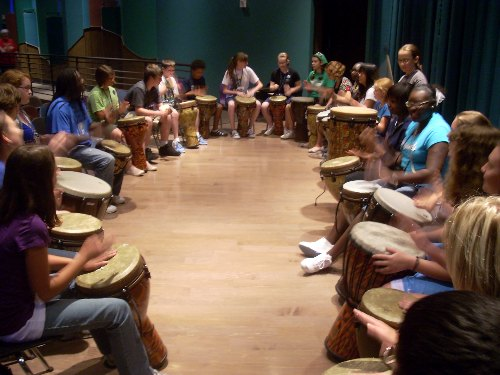 The drumming circle in action