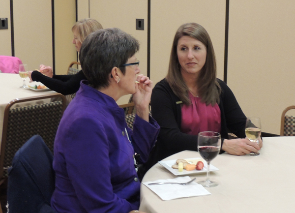 Pat Weaver-Meyers (left), co-chair of the Local Arrangements Committee, visits with OLA President Sarah Robbins at a reception