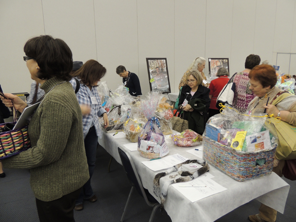 The silent auction for baskets raised money for OLA scholarships