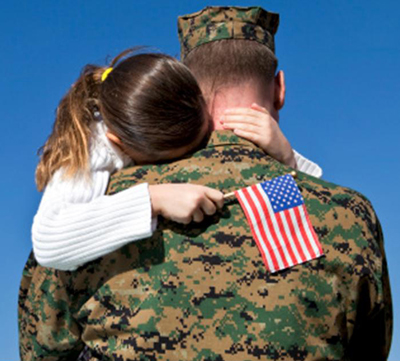 Photo of an American soldier with his daughter