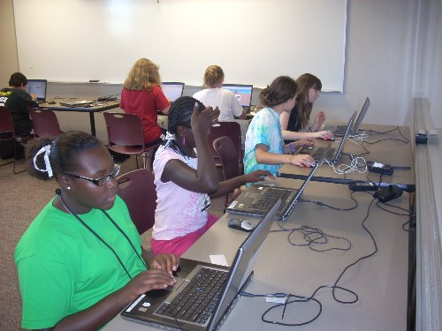 Campers enjoying the computer lab