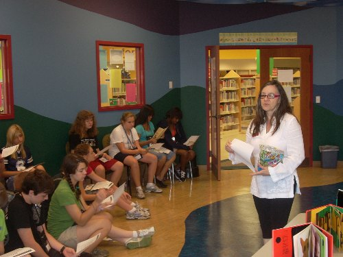 With Sara Martinez in the story-time room
