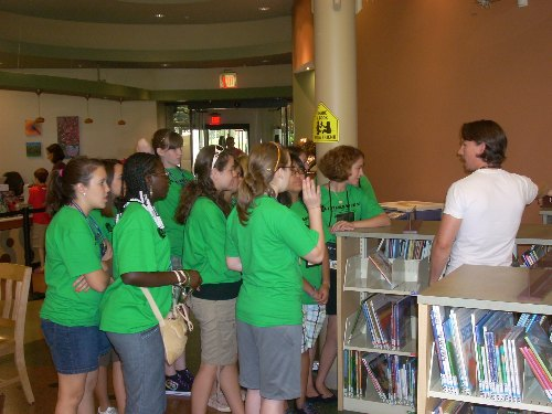 David Morrison tours the campers through Kaiser Library