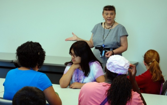 Pauline Rodriguez-Atkins talks to the campers