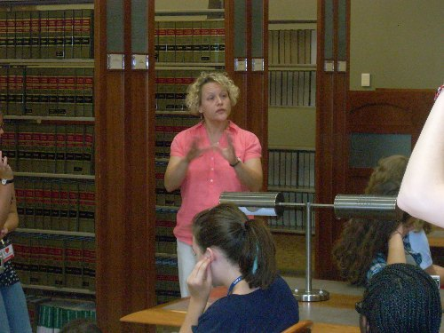 Courtney Selby discusses law librarianship at the TU Mabee Legal Information Center (MLIC)