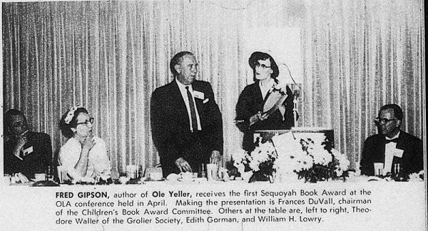 Photo of the first Sequoyah Award presentation