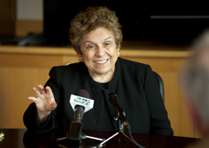 Former Health and Human Services Secretary Donna Shalala answers questions during a media event before the panel discussion.