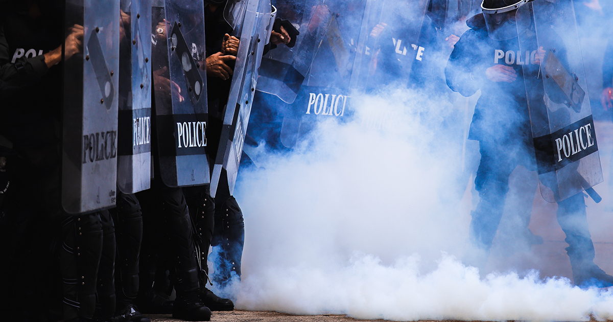 Police with tear gas
