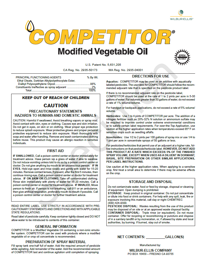 Competitor Modified Vegetable Oil