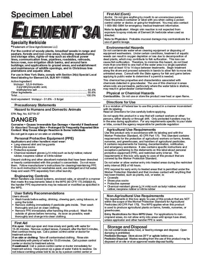 Element 3A Specialty Herbicide Label