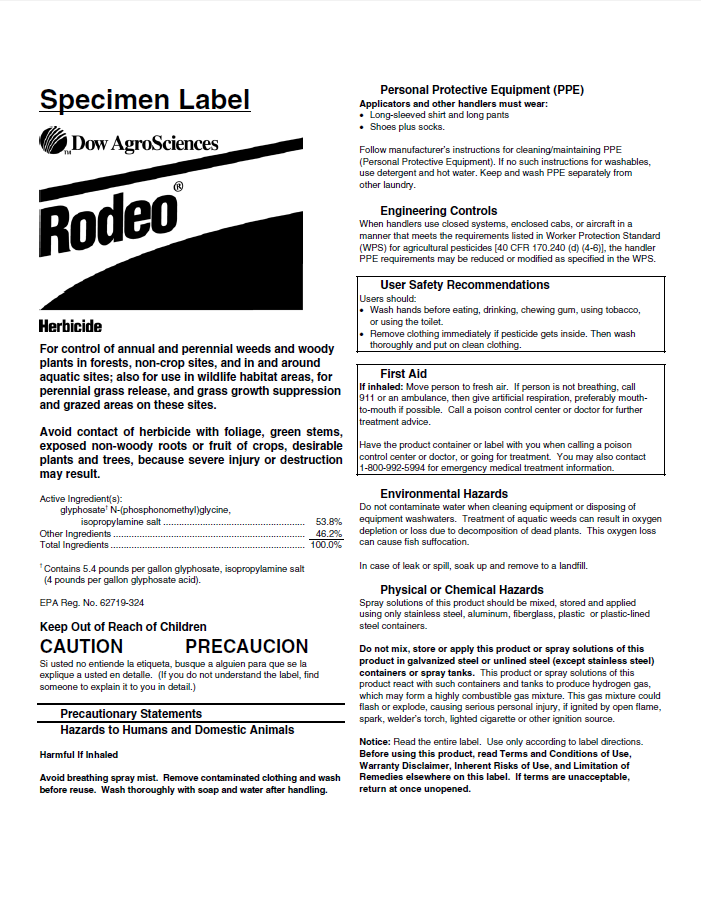 Rodeo Herbicide Label