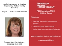 PQI Champions Webinar Series - Quality Improvement: Hospitals Implementing Baby Friendly Guidelines