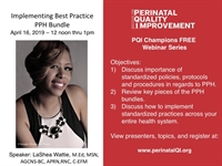 PQI Champions Webinar Series-Implementing Best Practice PPH Bundle in Multiple Birthing Facilities