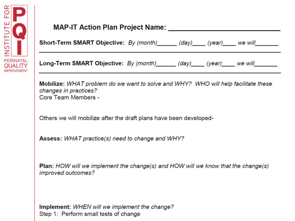 Map It Action Plan Worksheet Institute For Perinatal Quality