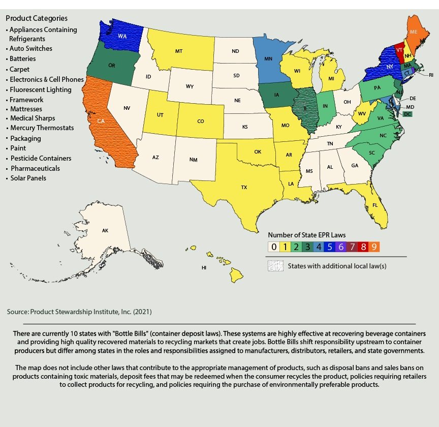 US State EPR Laws Product Stewardship Institute PSI - Map of us by state