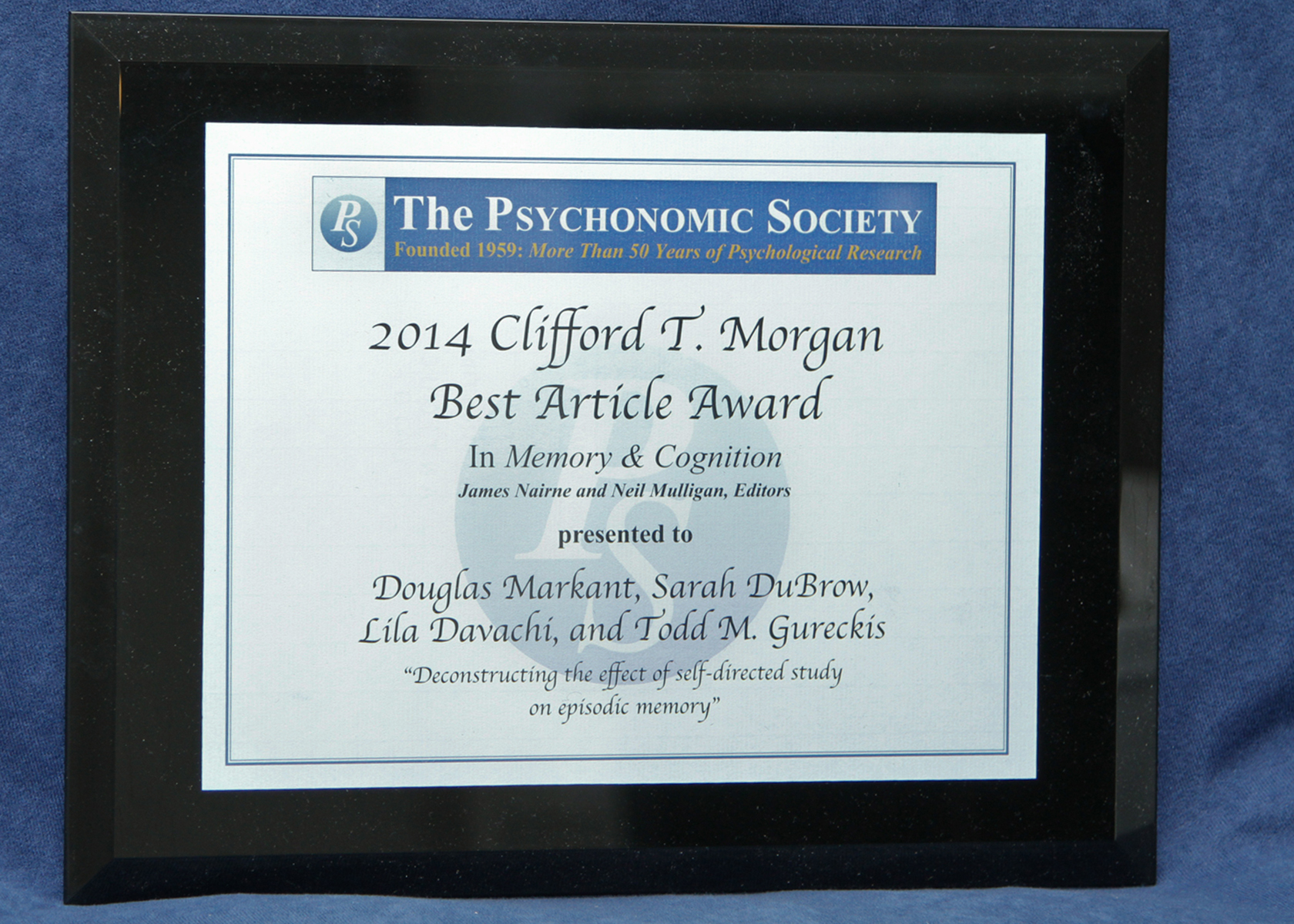 Clifford T. Morgan Best Article Award