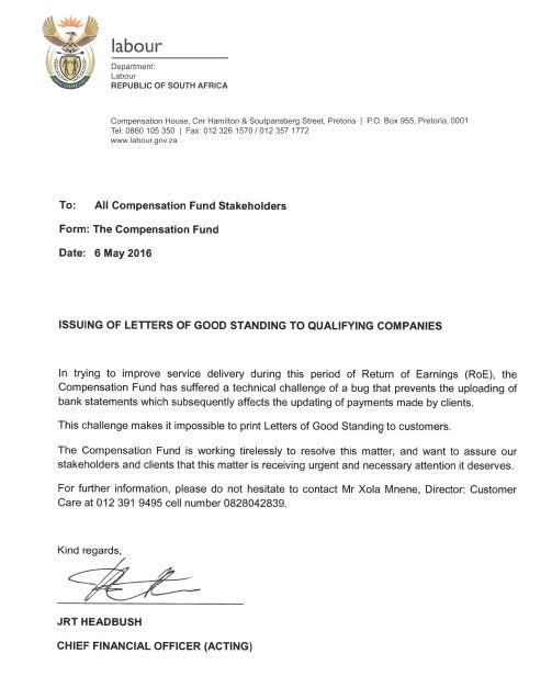 COIDA Notice Letter of Good Standing Saiosh
