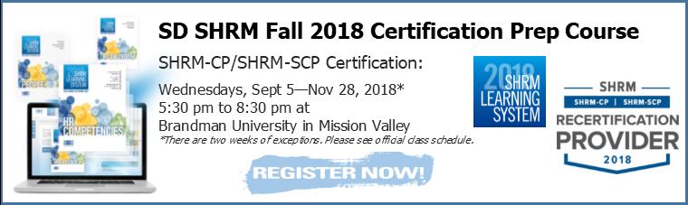 2018 Fall SHRM-CP/SCP 12 Week Prep Course - San Diego